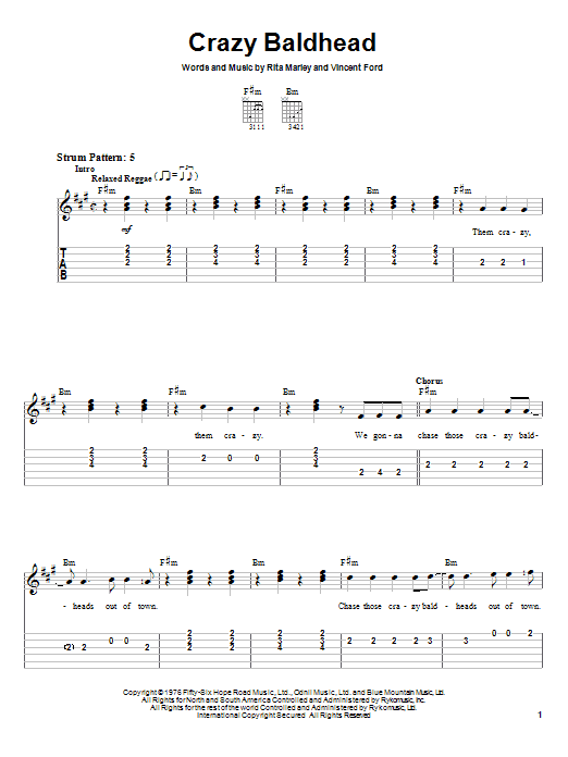Tablature guitare Crazy Baldhead de Bob Marley - Tablature guitare facile