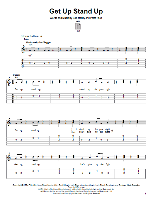 Tablature guitare Get Up Stand Up de Bob Marley - Tablature guitare facile