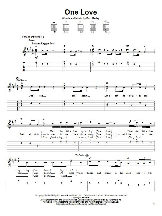 One Love (Easy Guitar Tab)