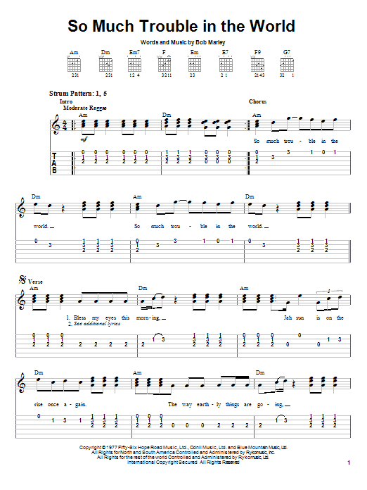 Tablature guitare So Much Trouble In The World de Bob Marley - Tablature guitare facile