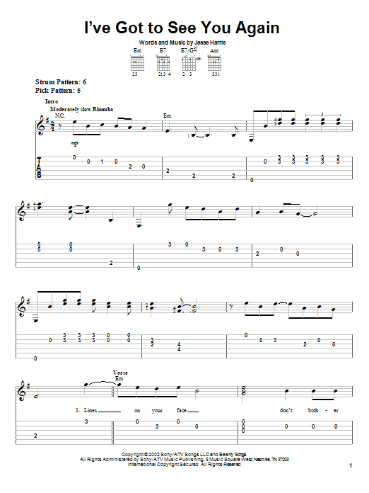 I've Got To See You Again (Easy Guitar Tab)