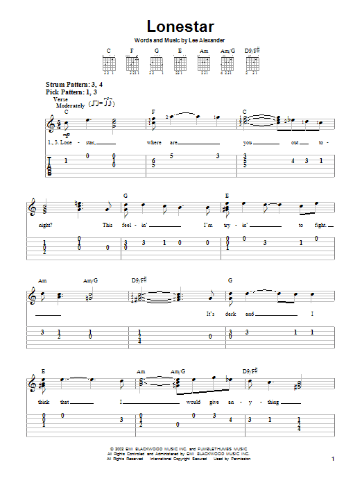 Tablature guitare Lonestar de Norah Jones - Tablature guitare facile