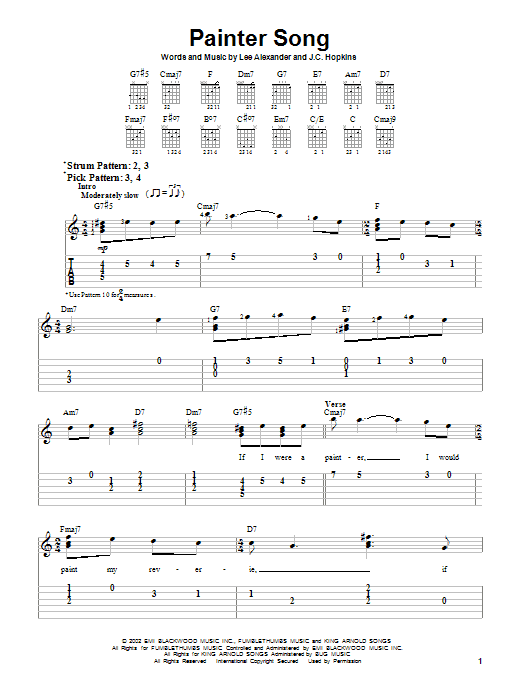Painter Song Sheet Music