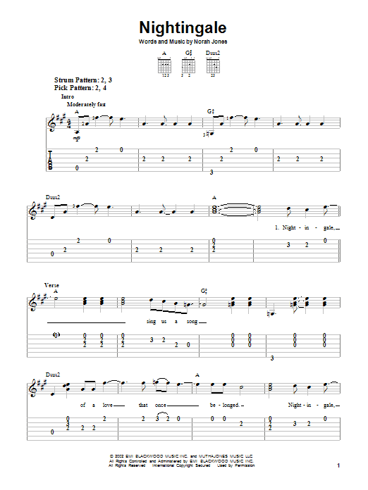 Nightingale (Easy Guitar Tab)
