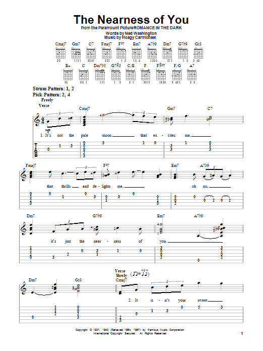 Tablature guitare The Nearness Of You de George Shearing - Tablature guitare facile