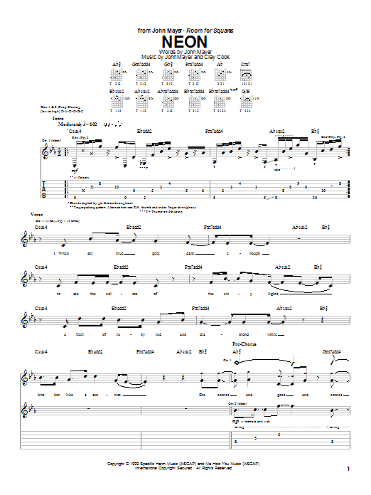 Neon By John Mayer Guitar Tab Guitar Instructor