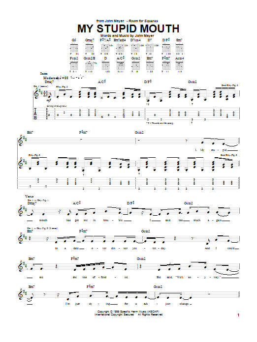 Tablature guitare My Stupid Mouth de John Mayer - Tablature Guitare