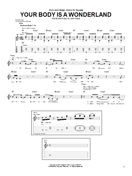 Your Body Is A Wonderland Guitar Tab by John Mayer (Guitar Tab – 23593)