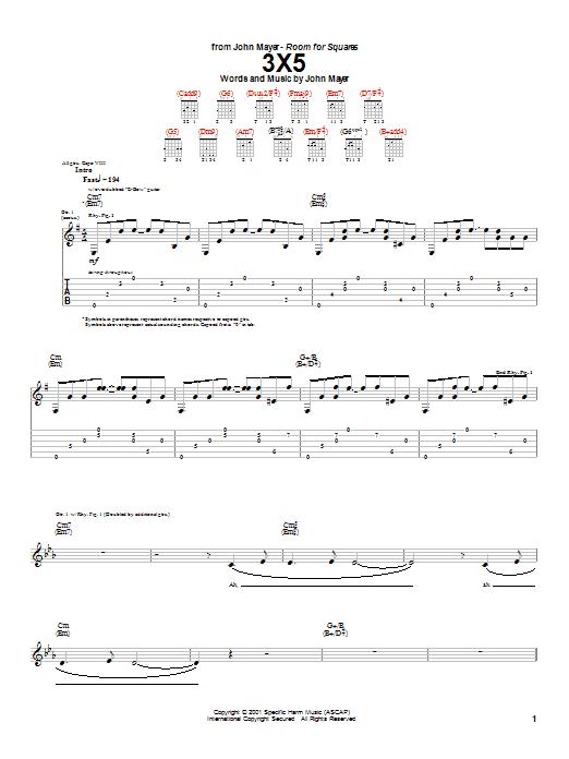 Tablature guitare 3X5 de John Mayer - Tablature Guitare
