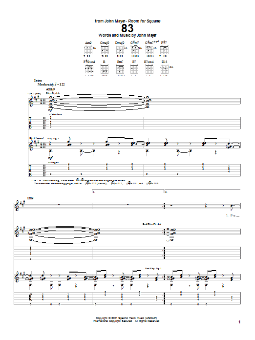 Tablature guitare 83 de John Mayer - Tablature Guitare