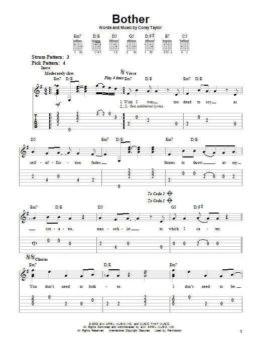 Bother Sheet Music