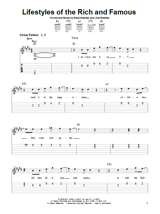 Tablature guitare Lifestyles Of The Rich And Famous de Good Charlotte - Tablature guitare facile