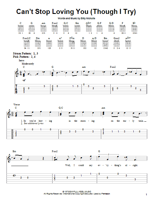 Tablature guitare Can't Stop Loving You (Though I Try) de Phil Collins - Tablature guitare facile