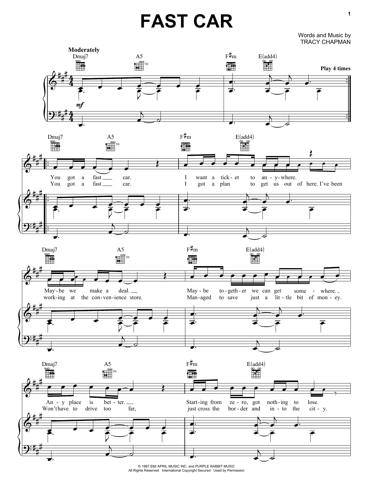 Fast Car Sheet Music