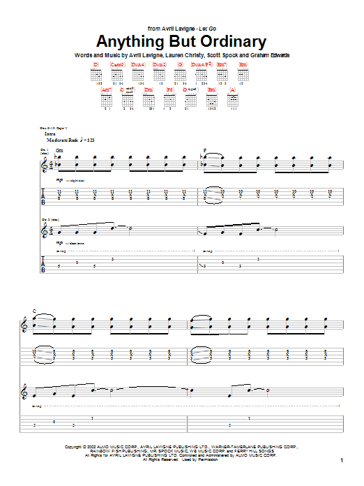 Tablature guitare Anything But Ordinary de Avril Lavigne - Tablature Guitare