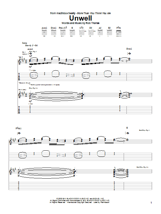 Tablature guitare Unwell de Matchbox Twenty - Tablature Guitare