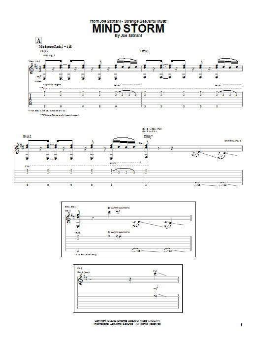 Tablature guitare Mind Storm de Joe Satriani - Tablature Guitare