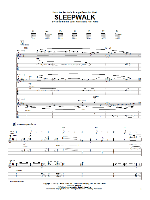 Sleepwalk Sheet Music