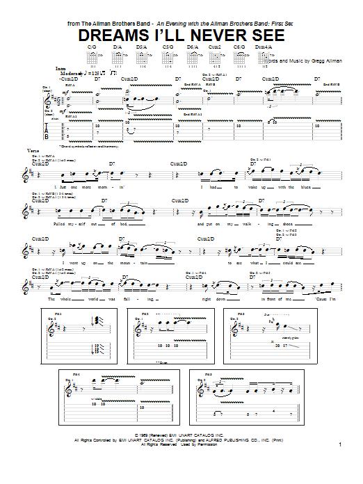 Dreams I'll Never See Sheet Music