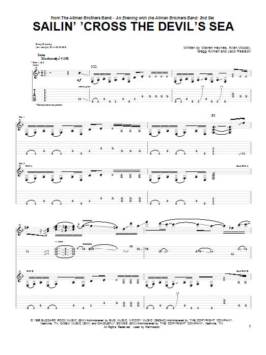 Tablature guitare Sailin' 'Cross The Devil's Sea de The Allman Brothers Band - Tablature Guitare