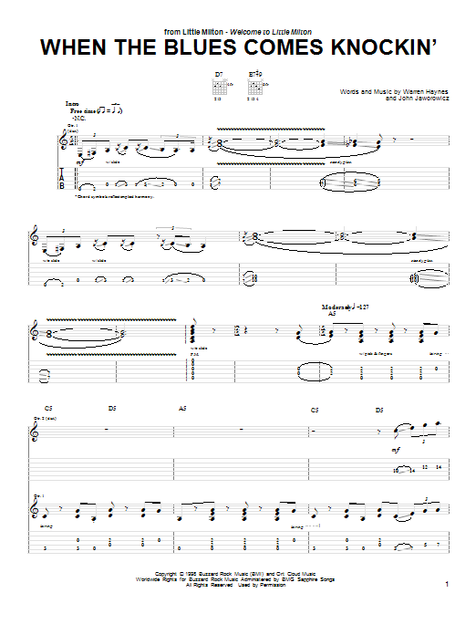 When The Blues Comes Knockin' Sheet Music