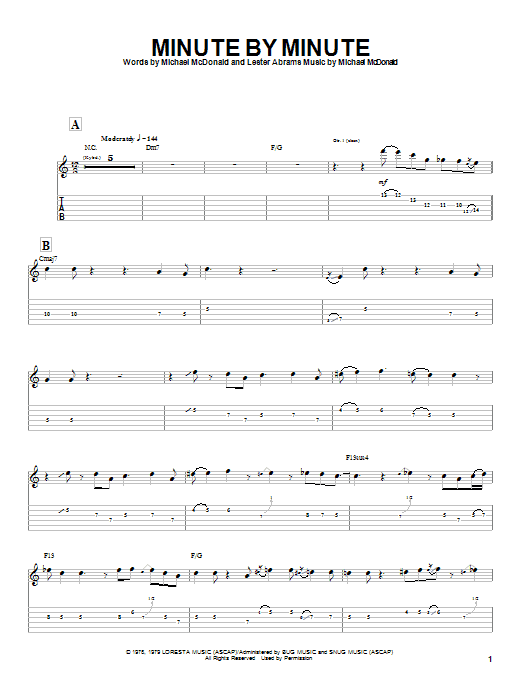 Tablature guitare Minute By Minute de The Doobie Brothers - Tablature Guitare