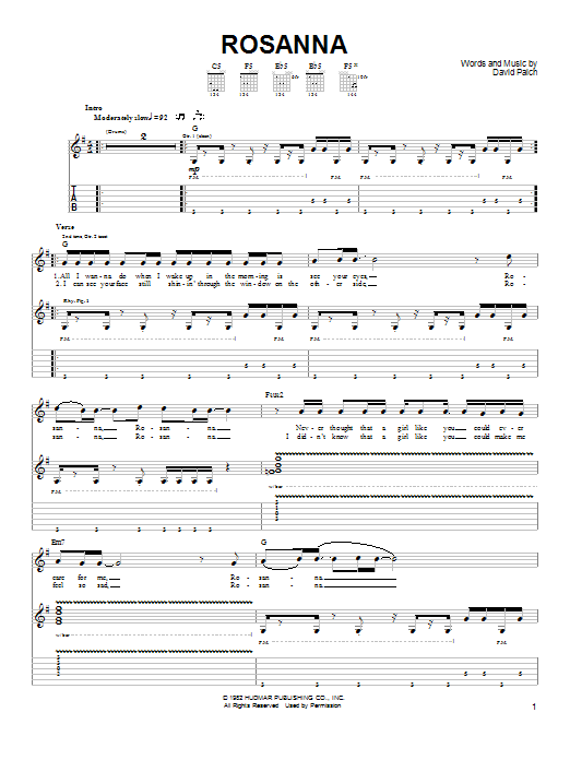 Rosanna Sheet Music | Toto | Easy Guitar
