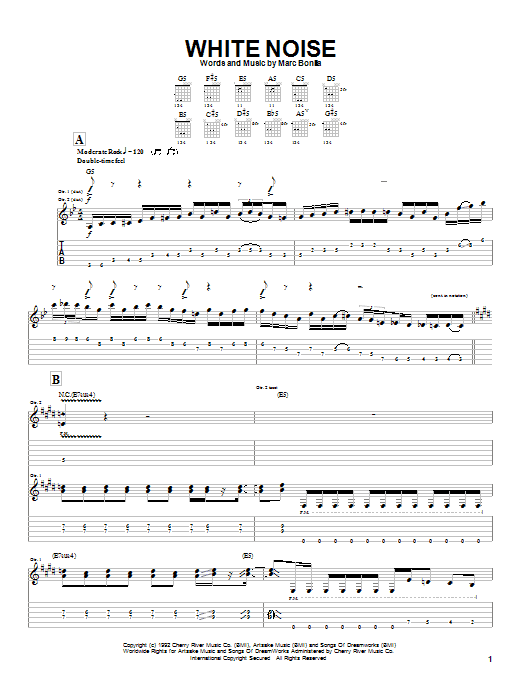 Tablature guitare White Noise de Marc Bonilla - Tablature Guitare