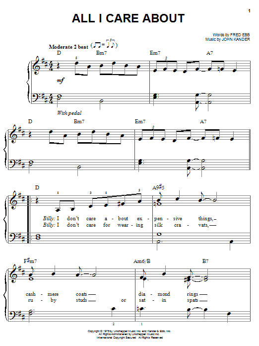 All I Care About (Easy Piano)