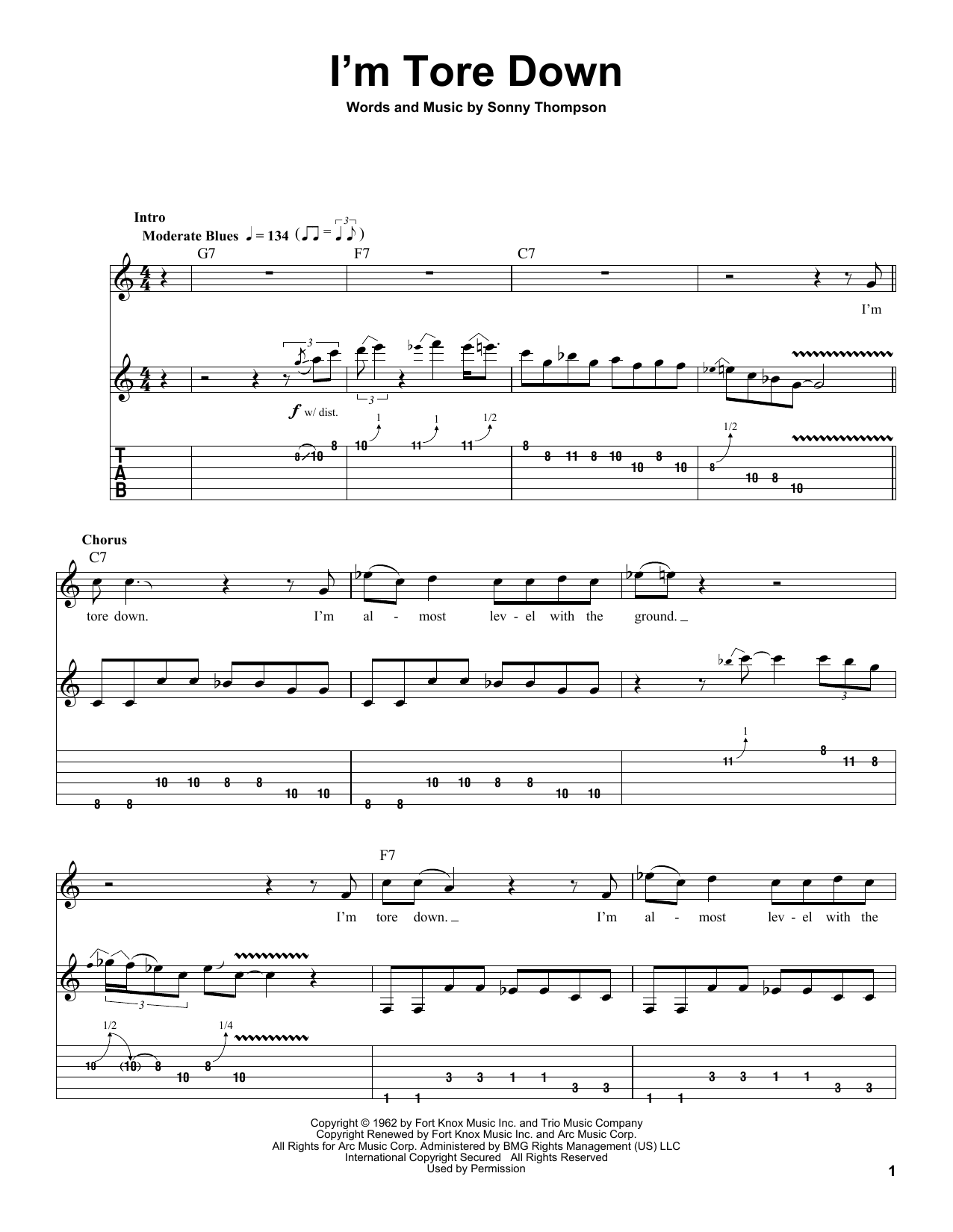 Tablature guitare I'm Tore Down de Eric Clapton - Playback Guitare