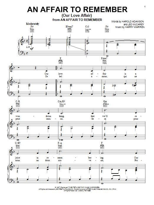 Partition piano An Affair To Remember (Our Love Affair) de Vic Damone - Piano Voix Guitare (Mélodie Main Droite)