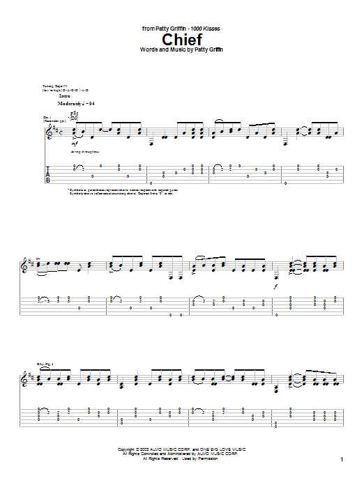 Tablature guitare Chief de Patty Griffin - Tablature Guitare