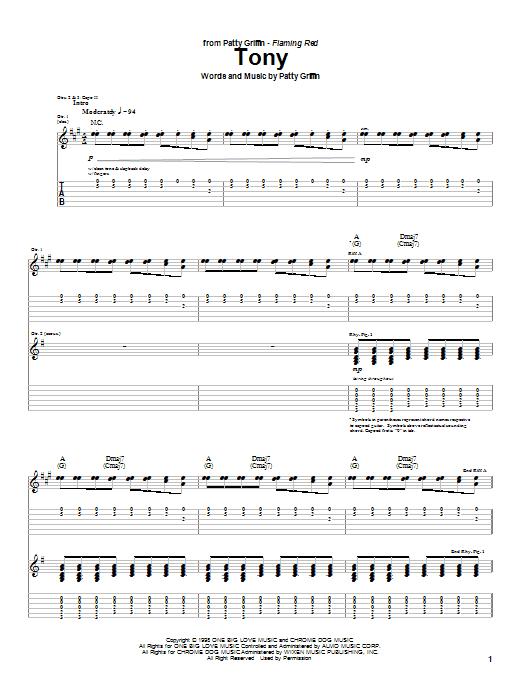 Tablature guitare Tony de Patty Griffin - Tablature Guitare