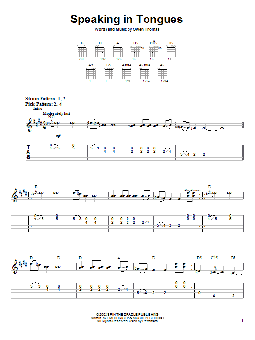 Speaking In Tongues (Easy Guitar Tab)