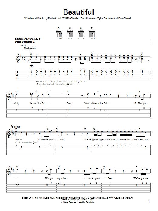 Beautiful (Easy Guitar Tab)