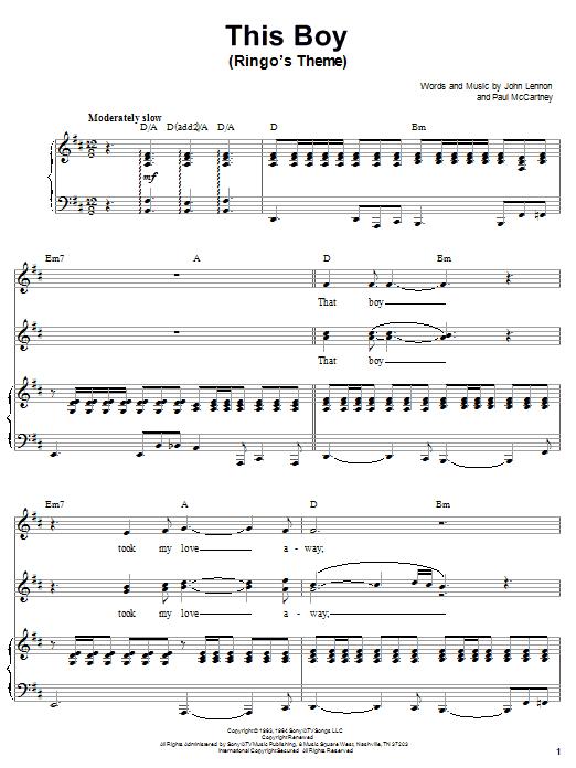 Partition piano This Boy (Ringo's Theme) de The Beatles - Piano Voix Guitare (Mélodie Main Droite)