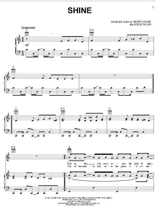 Shine (Piano, Vocal & Guitar (Right-Hand Melody))