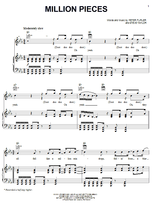 Million Pieces (Piano, Vocal & Guitar (Right-Hand Melody))