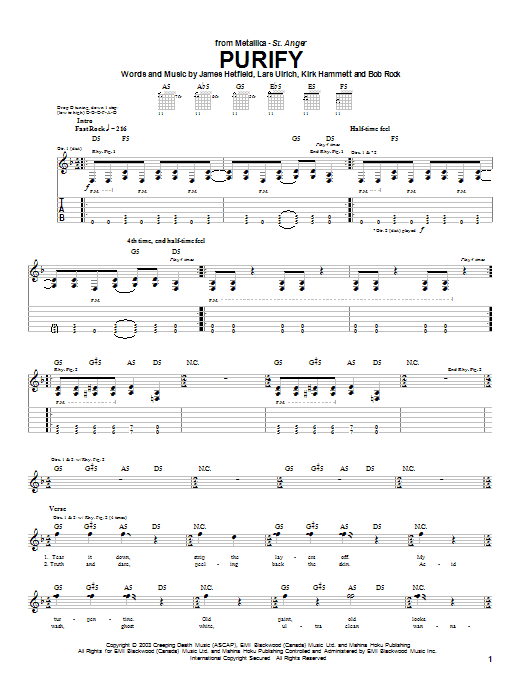 Tablature guitare Purify de Metallica - Tablature Guitare