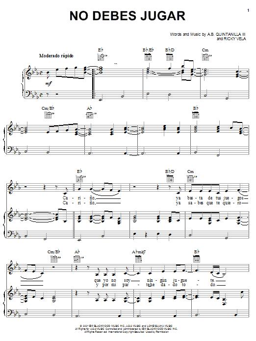 No Debes Jugar (Piano, Vocal & Guitar (Right-Hand Melody))