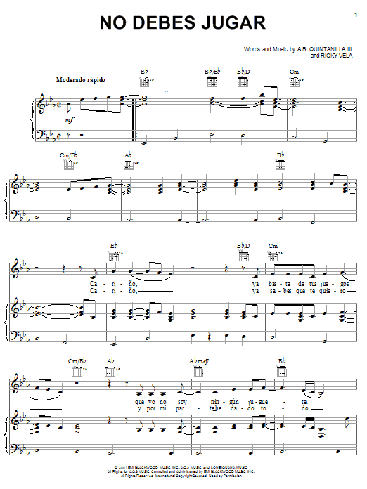 Partition piano No Debes Jugar de A.B. Quintanilla III - Piano Voix Guitare (Mélodie Main Droite)
