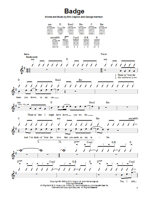 Badge Sheet Music