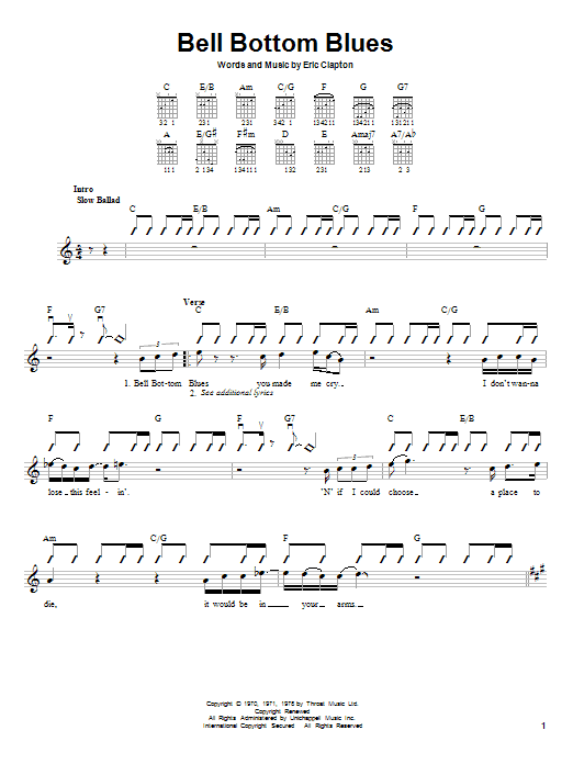 Tablature guitare Bell Bottom Blues de Derek And The Dominos - Autre