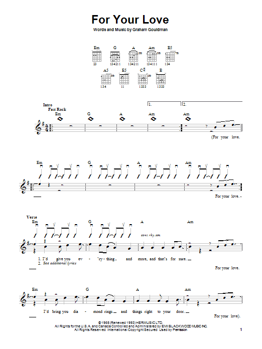 For Your Love Sheet Music