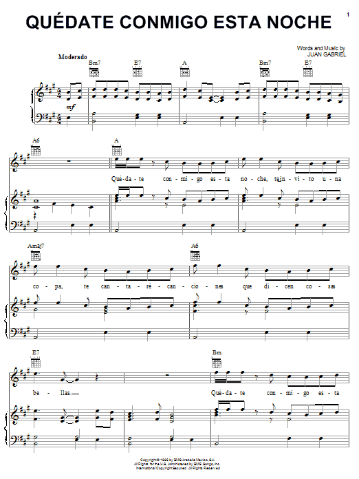 Quedate Conmigo Esta Noche (Piano, Vocal & Guitar (Right-Hand Melody))