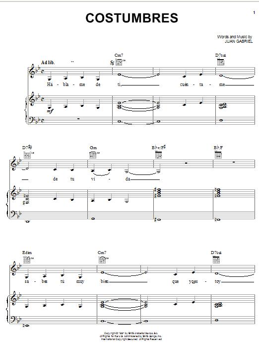Costumbres Sheet Music