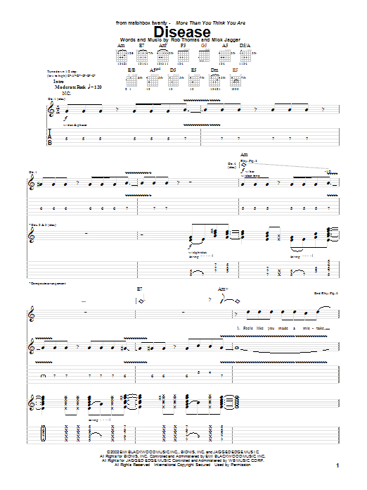 Tablature guitare Disease de Matchbox Twenty - Tablature Guitare