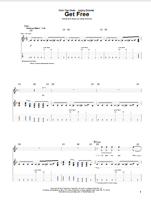 Tablature guitare Get Free de The Vines - Tablature Guitare