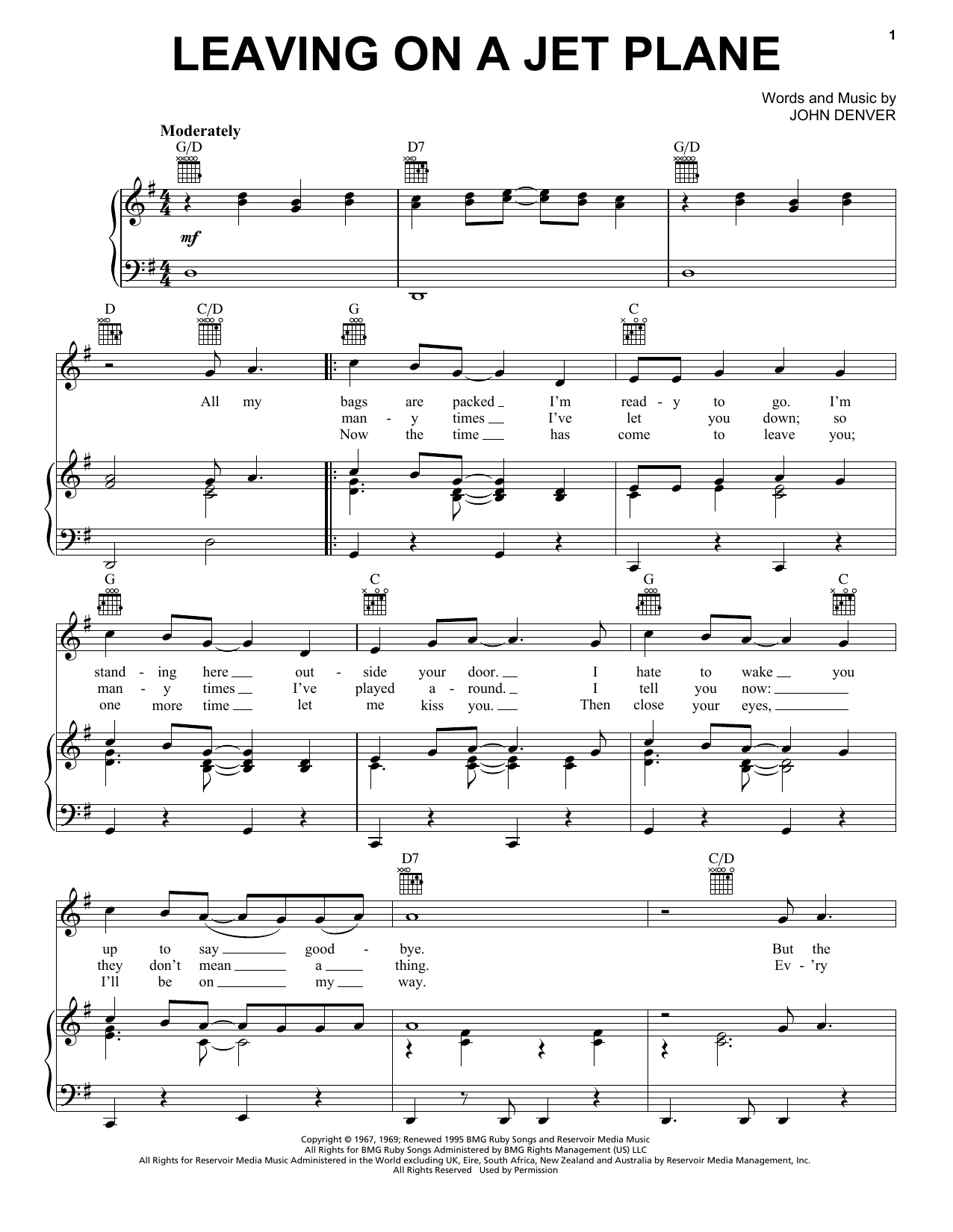 Leaving On A Jet Plane Sheet Music