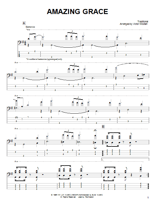 Amazing Grace Bass Guitar Tab by Victor Wooten (Bass Guitar Tab u2013 24139)